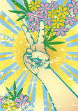 Flower power. Hand gesturing symbol of peace with flowers and marijuana leaves Royalty Free Stock Photography