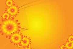 Flower power. Abstract flower design on a orange yellow background Stock Photos
