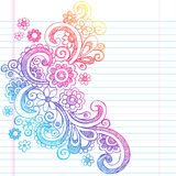 Flowers Sketchy Back to School Doodle Vector Illus Stock Photo