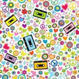 Flower power background with audio tape cassettes stock illustration