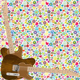 Flower power background with quitars. Flower power seamless background with quitars vector illustration