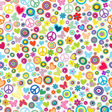 Flower power background seamless pattern with flowers, peace signs, circles and butterflies. On whte background stock illustration