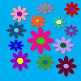 Flower Power with Bright Blue Background. Very pretty and very colorful 60`s style flowers with bright blue background. Psychedelic colors and flowers royalty free illustration