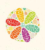 Flower Power Creative Hippie Vector Illustration. Bright Summer Lettering Concept on Paper Background.  stock illustration