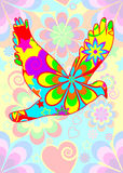 Flower power dove. A flying bird with a colorful flower power hippie style pattern against a bright psychedelic background for post cards, greeting card, logo stock illustration