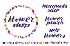 Flower power, flower shop, sale of flowers, bouquets sale hand lettering. Hand drawn flowers doodle. Flower wreath. Flower border. royalty free illustration