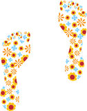 Flower Power Footprints Royalty Free Stock Photography