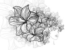 Flower power. Hand drawn flower power girl Royalty Free Stock Image