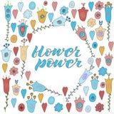 Flower power-het Van letters voorzien Geïsoleerdj op witte achtergrond vector illustratie