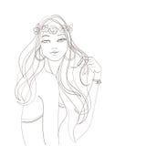 Flower power hipisa szyka artystyczna dziewczyna Fotografia Royalty Free