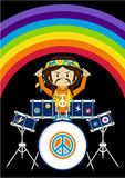 Flower Power Hippie Drummer. Vector Illustration of a Cute Cartoon Sixties Flower Power Hippie Character with Drum Kit Stock Image