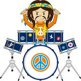Flower Power Hippie Drummer. Vector Illustration of a Cute Cartoon Sixties Flower Power Hippie Character with Drum Kit Stock Photos