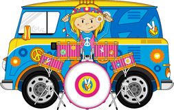 Flower Power Hippie Drummer. Vector Illustration of a Cute Cartoon Sixties Flower Power Hippie Character with Drum Kit Stock Images