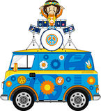Flower Power Hippie Drummer. Vector Illustration of a Cute Cartoon Sixties Flower Power Hippie Character with Drum Kit Royalty Free Stock Image