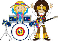Flower Power Hippie Drummer. Vector Illustration of a Cute Cartoon Sixties Flower Power Hippie Character with Drum Kit Royalty Free Stock Photos