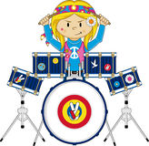 Flower Power Hippie Drummer. Vector Illustration of a Cute Cartoon Sixties Flower Power Hippie Character with Drum Kit Royalty Free Stock Photo