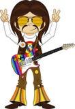 Flower Power Hippie Guitarist Stock Images