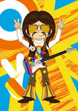 Flower Power Hippie Guitarist Royalty Free Stock Photo
