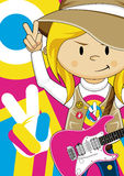 Flower Power Hippie Guitarist Royalty Free Stock Photography