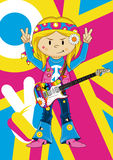 Flower Power Hippie Guitarist Stock Image