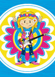 Flower Power Hippie Guitarist Royalty Free Stock Photos