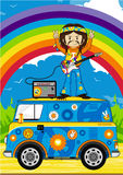Flower Power Hippie Guitarist Stock Photos