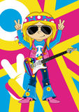 Flower Power Hippie Guitarist Stock Photography
