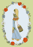 Flower power-Meisje Stock Afbeeldingen