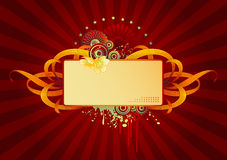 Flower-power-mix. Retro flower-power-label or banner with linework, circles, stars and - yes! - flowers Stock Image