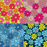 Flower Power Pattern. Colorful flower seamless pattern. EPS 8, CMYK vector illustration with global colors Stock Image
