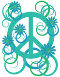 Flower Power Peace Symbol. Flowers, scrolls, and a peace symbol are featured in an abstract background vector illustration Stock Images