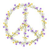Flower power peace symbol. Isolated vector Stock Image