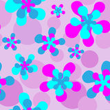 Flower Power Pink. Tileable swatch with blue and pink retro flowers on mauve background Stock Photos
