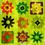 Flower Power Pop Art Grunge. Colorful variety of nine different retro and grunge flowers pop art stylish theme in which no two are alike Stock Images