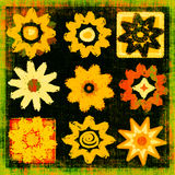 Flower Power Pop Art Grunge. Colorful variety of nine different retro and grunge flowers in pop art style Stock Photo
