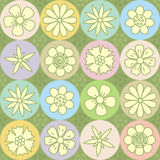 Flower power repeat pattern (seamless background). Easy tilable floral repeat pattern (print, seamless background, wallpaper stock illustration