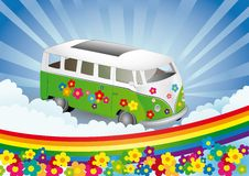 Flower power - retro van Royalty Free Stock Photo