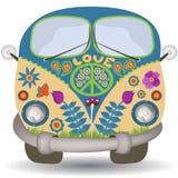 Flower power samochód dostawczy ilustracja wektor