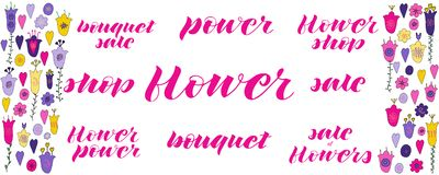 Flower power, flower shop, sale of flowers, bouquet sale, flower, power, sale, bouquet hand lettering. vector illustration