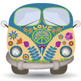Flower power van. Vector illustration of a flower power, hippie vintage car or mini van, front view vector illustration
