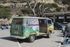 Flower power vehicle in Matala, Greece Stock Image