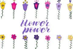 Flower powerborstebokstäver Blommor och sidor för hand klottrar utdragna Rosa färger lilor, gulingblommor green leaves vektor illustrationer