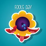 Flower prank and smile mouth fools day. Vector illustration Royalty Free Stock Photos