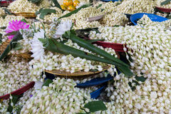 Flower for praying Buddha at Temple. In Thailand Stock Photos