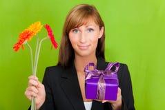 Flower present gift flowers Stock Photo