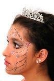 Flower Princess. Teenage girl wearing a tiara and makeup made of rhinestone flowers Stock Photography