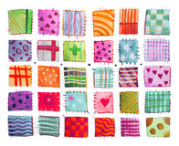 Flower print, patchwork, set of colorful prints patterns watercolor drawing stock illustration