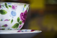 Flower printed cup for tea or coffee Stock Photo