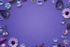 Flower purple background. Free space in the middle for text Stock Image