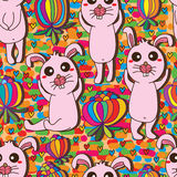 Flower rabbit drawing cute seamless pattern Stock Photo